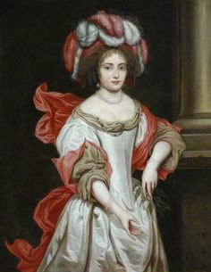 Portrait of a young lady in a fethered headdress by Pierre Mignard (1612-1695)