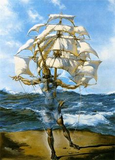Salvador Dali The Ship painting for sale - Salvador Dali The Ship is handmade art reproduction; You can buy Salvador Dali The Ship painting on canvas or frame. Salvador Dali Gemälde, Salvador Dali Paintings, Ship Paintings, Watercolor Paintings, Ship Art, Surreal Art, Les Oeuvres, Art History, Art Photography
