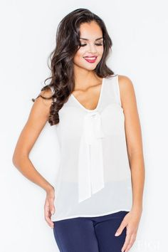 Chiffon blouse Women's bow at the neckline in ecru Blouses For Women, Preppy, Basic Tank Top, Camisole Top, Chiffon, Bows, Tank Tops, Celebrities, Neckline
