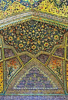 The tile work of the Darul Ehsan Sunni Mosque in Sanandaj, Iran