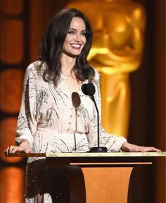 Angelina Jolie took the stage at the 2017 Governors Awards! #fashion #style #outfit #celebrity #angelinajolie #dress #hair