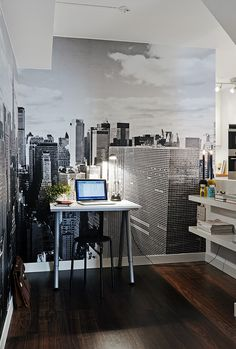 I love the idea of a high rise office in the city art for a home office!