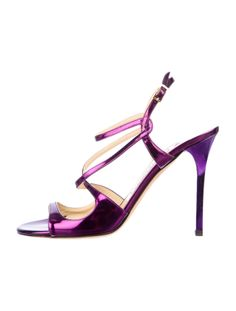 JIMMY CHOO METALLIC SANDALS  #violet metallic #purple $175.00 size 7