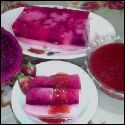 Resep Puding Buah Naga Saus Strawberry