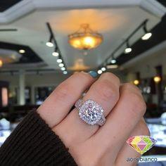 3.50 Ct Round Sim Diamond Three Row Halo Engagement Ring 10K Yellow Gold Over