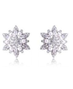 brincos de luxo para noiva com pérolas e zirconias cristais semi joias finas