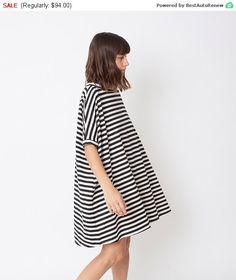 SALE 15% Black & white dress, oversize dress, oversize tunic, A-line dress, striped dress, loose dre
