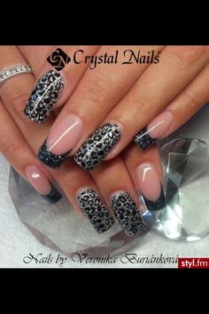 Grey cheetah print nails