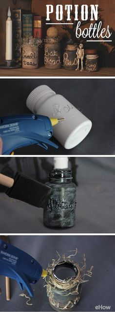 Take old vitamin or pill bottles and transform them into frightening witch's…