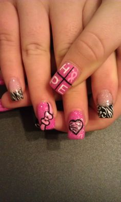 365 Days of Nail Art ~ Breast Cancer Awareness Crazy Nails, Love Nails, How To Do Nails, Pretty Nails, Sns Nails, Gel Nail Designs, Cute Nail Designs, Nails Design, Fabulous Nails