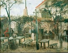 """Terrace of a Cafe on Montmartre (Le Guinguette) by Vincent van Gogh  -""""Usually the setting for a lighthearted scene of leisure, notably in the work of Pierre-Auguste Renoir, the painting's outdoor café takes on a sober note in the low autumn light."""""""