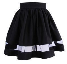 Black Mini Skirt with Sheer Panel