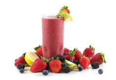 I LOVE Alton Brown's healthy smoothie recipe - equal parts Concord grape juice, skim or soy milk, frozen banana, frozen strawberries, frozen blueberries or blackberries, and frozen peaches or mangos.