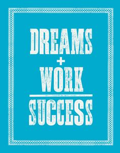 Motivational Wall Decor Dreams Work Success by TheMotivatedType