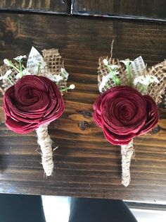 Our customers are amazing! Look at these boutonnières! They are made with sola wood flowers! Wood Flower Bouquet, Sola Wood Flowers, Wooden Flowers, Flower Corsage, Metal Flowers, Flower Bouquet Wedding, Paper Flowers, Paper Flower Centerpieces, Flower Decorations