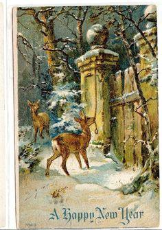 Vintage Reindeer Christmas Postcard Christmas by TheIDconnection, $7.00