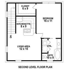 2 Car Garage Apartment Plan Number 47102 with 1 Bed, 1 Bath- 2 Car Garage Apartment Plan Number 47102 with 1 Bed, 1 Bath Second Floor Plan of Garage Plan 47102 - Plan Garage, Garage Floor Plans, House Floor Plans, Garage Apartment Plans, Garage Apartments, Apartment Ideas, Garage Apartment Interior, Above Garage Apartment, Studio Apartment