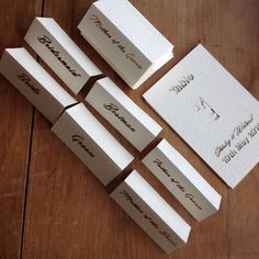 Laser cut place cards. www.sweetpeadesign.co.uk Table Cards, Laser Cutting, Place Cards, Gift Wrapping, Cards Against Humanity, Gifts, Gift Wrapping Paper, Presents, Wrapping Gifts