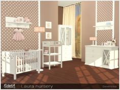 A set of furniture and decor for decorating a baby room in a delicate pink-beige palette Found in TSR Category 'Sims 4 Nursery sets'