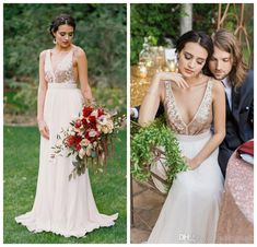 2016 Hot Sale Rose Gold Sequinned Wedding Dress By Truvelle Floor Length Chiffon Pleats Sexy Back Wedding Gowns Custom Low Cost Wedding Dresses Photos Of Dresses From Wheretoget, $82.42| Dhgate.Com