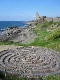 Dunure Castle and Labyrinth on Ayrshire coast