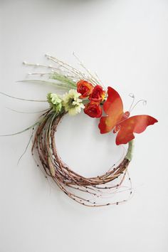 Red buttefly wreath, flowers and butterfly wreath, spring flowers wreath, orange green brown wreath, boho rustic decor, wall or door wreath