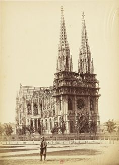 The Votive Church (Votivkirche). Construction began in and it was dedicated twenty-six years later on April the occasion of the silver jubilee of the royal couple, Emperor Franz Joseph and his wife Empress Elisabeth. April 24, Emperor, Vienna, Old Photos, Big Ben, The Twenties, Barcelona Cathedral, Joseph, Old Things
