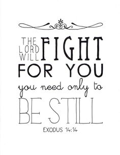The Lord will fight for you. You only need to be still.