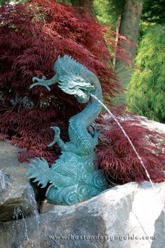 A lovely dragon fountain for the garden - Stonegate Gardens Vintage Mermaid, Mermaid Paintings, Mermaid Mermaid, Dragon Dreaming, Outdoor Water Features, Dragon Heart, Art Asiatique, Fantasy Mermaids, Dragon Jewelry