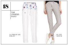2013 Wardrobe Essentials: The Striped Pant — Dont be scared — just because Beetlejuice rocked them, doesnt mean that youve got to do it that way, too. In fact, we love how easy it is to style a vertical-striped pant. Just throw on a pair of flats, an easy tee, and youre good to go! 3.1 Phillip Lim Straight Leg Floral Print Trouser; By Zoe Striped Lorens Pant.