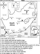 following instructions Geography Worksheets, Geography Activities, Geography Map, South Africa Map, Map Quiz, Little Passports, Map Skills, Teaching Aids, International Day