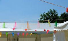 salon Envies d'été #decoration #guirlandes #marchedecreateurs #pompons #tulle