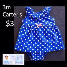 Carter's 3m Infant Girl Blue & Whiite Polka Dot Onesie Dress $3