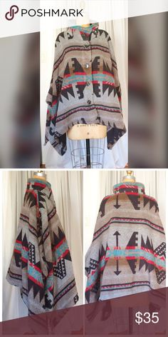 NWOT tribal poncho NWOT tribal printed poncho. Size small but fits all sizes. Button closure on front. No sleeves. Very warm and comfy! Jackets & Coats Capes