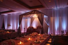 Sweetheart Fabric Tent design with light lavender lighting and pink pintuck taffeta tablecloths. ballroom full pipe and drape | Yelp