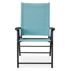 • Made of powder-coated steel<br>• Supports up to 250 pounds<br>• Weather resistant<br><br>Pull up a chair and enjoy the beautiful weather with the Patio Sling Folding Chair in Blue from Room Essentials. This outdoor deck chair folds up easily for storage.