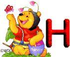 Alfabeto animado de Winnie the Pooh disfrazado de abejita.