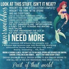 """I found the """"spoonie"""" version of Part of that World from The Little Mermaid. Made me smile Chronic Fatigue, Chronic Illness, Chronic Pain, Fatigue Symptoms, Intracranial Hypertension, Trigeminal Neuralgia, Friedreich's Ataxia, Pseudotumor Cerebri, Illness Quotes"""