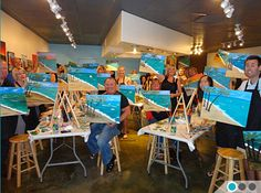 The Brush Bar - Painting Class and Wine Bar.  I think it'd be a fun group outing or double date place.  :)