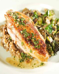 This chicken with white wine and herb sauce is a delicious dish sure to please the whole family, and goes wonderfully with Roasted Barley Pilaf and Sauteed Spring Vegetables.