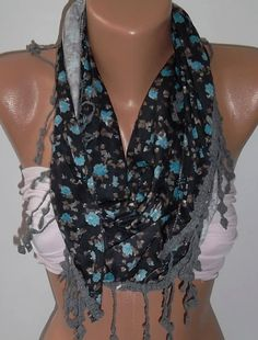 Blue Flowered - Elegance Shawl / Scarf - with Lace Edge