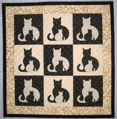 Looking for your next project? You're going to love SIDEKICK Cat Applique Quilt, 5 sizes by designer Elena McDowell.
