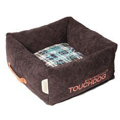 "Pet Life Exquisite-Wuff Posh Rectangular Diamond Stitched Fleece Plaid Dog Bed Size: Large (23.6"" L x 23.6"" W), Color: Dark Brown"