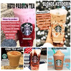 33 amazing low carb starbucks drinks that are perfect for low carb and keto dieters! These make the perfect keto treats that will keep you in ketosis. Keto Diet Drinks, Low Carb Drinks, Keto Drink, Healthy Drinks, Starbucks Secret Menu Drinks, Sugar Free Starbucks Drinks, Low Calorie Starbucks Drinks, Starbucks Calories, Comida Keto
