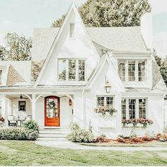 most popular dream house exterior design ideas 00024 Cute House, White Cottage, Tudor Cottage, Cottage Farmhouse, French Cottage, Cozy Cottage, Farmhouse Decor, Dream House Exterior, Home Exterior Design