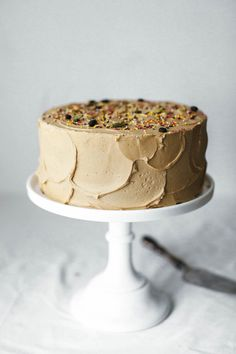 cardamom coffee cake with bulletproof frosting - Frosting: butter, sugar, instant espresso, vanilla extract, salt, cardamom