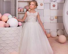 White Lace Flower Girl Dress Lace Chiffon by KingdomBoutiqueUA