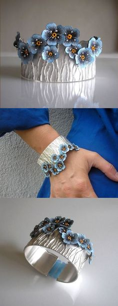 Bracelet - Jolanta Bromke. 930 silver and natural leather, hand painted with water and abrasion resistant paint.