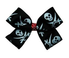 Large Skull and Swords Pirate Hair Bow by APinkLemonadeDesigns, $5.00
