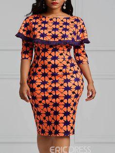 Ericdress Bodycon Geometric Print Women's Dress